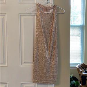 LUSH blush rose gold sequin dress.